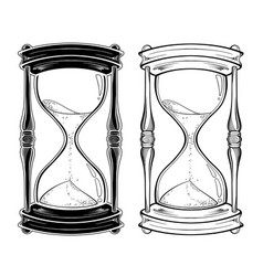 hand drawn line art hourglass set vector image