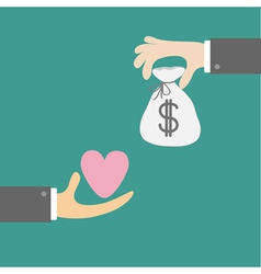 Hands with heart and money bag Exchanging concept vector