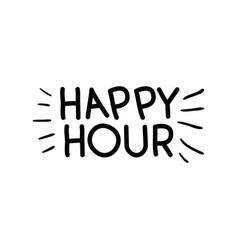 Happy hour label icon vector
