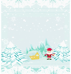 Happy New year card with Santa and winter vector image