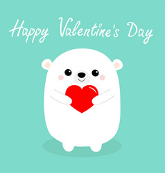 Happy valentines day white baby bear holding red vector