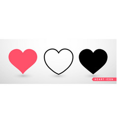 Heart collection flat icon set love symbol vector