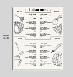 Italian food menu of different pasta pizza soup vector