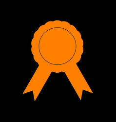 label sign ribbons orange icon on black vector image