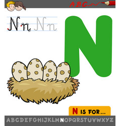 Letter n with cartoon bird nest vector