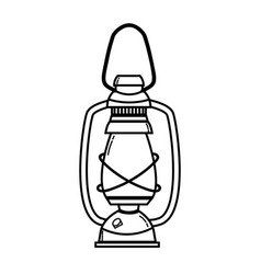 line old lamp hand retro style vector image