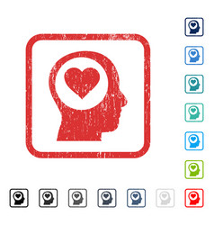 Love thinking head icon rubber watermark vector