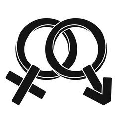 Male and female signs icon simple style vector
