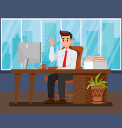 Man at new workplace flat vector