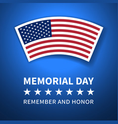 Memorial day poster with the flag of united states vector
