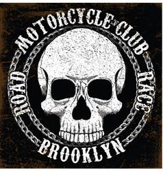 Motorcycle skull tee graphic design vector