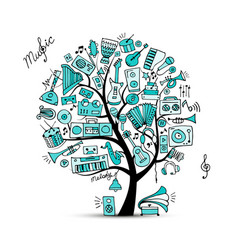 Music instruments tree sketch for your design vector