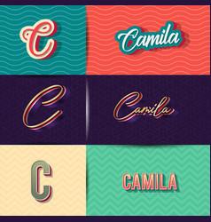 Name camila in various retro graphic design vector