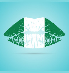 Nigeria flag lipstick on the lips isolated on a vector