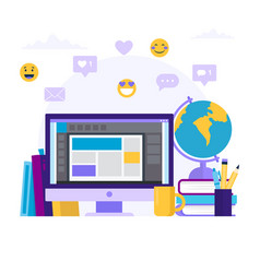 online education concept with a vector image
