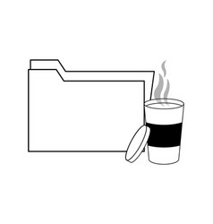 Outline folder file archive and hot coffee vector