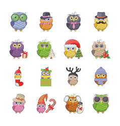 owl drawing icons set vector image