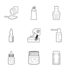 pharmacy product icons set outline style vector image