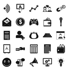 Profit icons set simple style vector