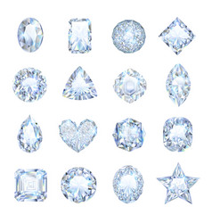 Realistic gemstones icons set vector