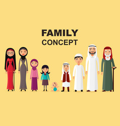 Saudi family muslim arabic family isolated vector
