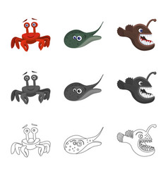 Sea and animal sign set of vector
