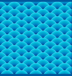 seamless blue dragon fish scales wave pattern vector image