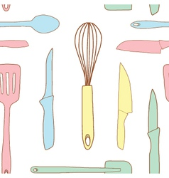 Seamless of Kitchen utensils vector image