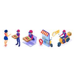 Secure online food delivery service vector