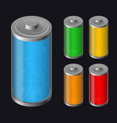 Set batteries icon various types charged vector