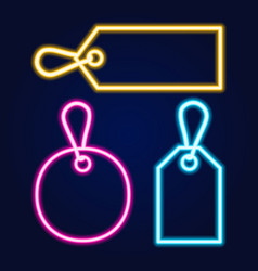 set neon price tags with different colors and vector image