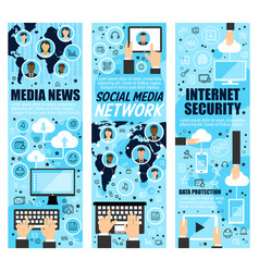 Social mass media and internet security vector