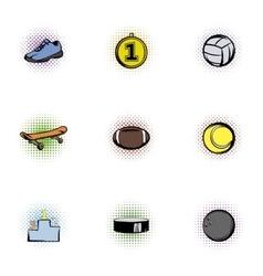Sports stuff icons set pop-art style vector