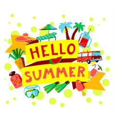 Summer beach cartoon banner with hello summer vector