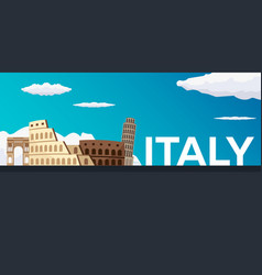 Travel banner to italy flat vector