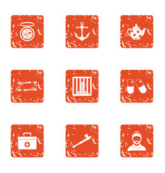 Water doctor icons set grunge style vector