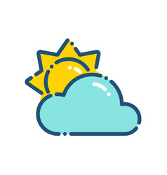 weather little cloudy day icon outline vector image