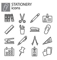 web icons set stationery office stuff black vector image