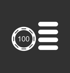 White icon on black background casino stuff chip vector