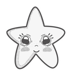 White kawaii cute star with big eyes and cheeks vector