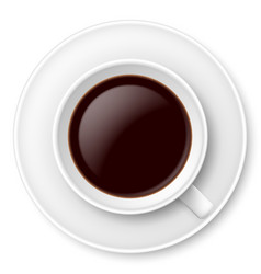 White mug of coffee and saucer on white vector