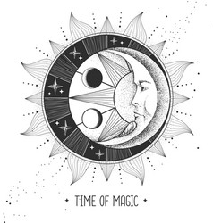 Witchcraft card with astrology sun and moon sign vector