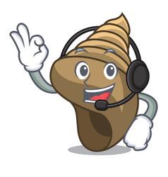 With headphone spiral shell mascot cartoon vector