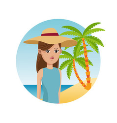 Woman travel tourist with hat palm sand beach vector