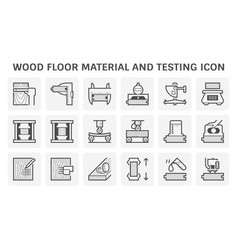 wood floor material and testing icon set design vector image