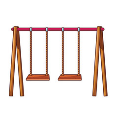 Wooden swing for kids vector