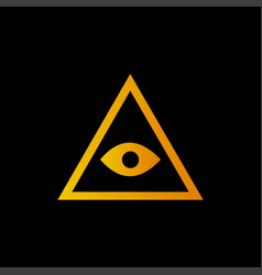 Yellow pyramid icon isolated on black background vector