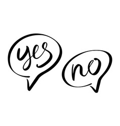 Yes No speech bubbles lettering vector