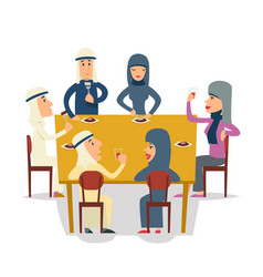 arab family group friends eat meal characters vector image