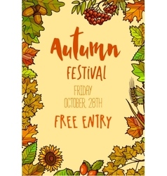 Autumn Fall Festival template background vector image